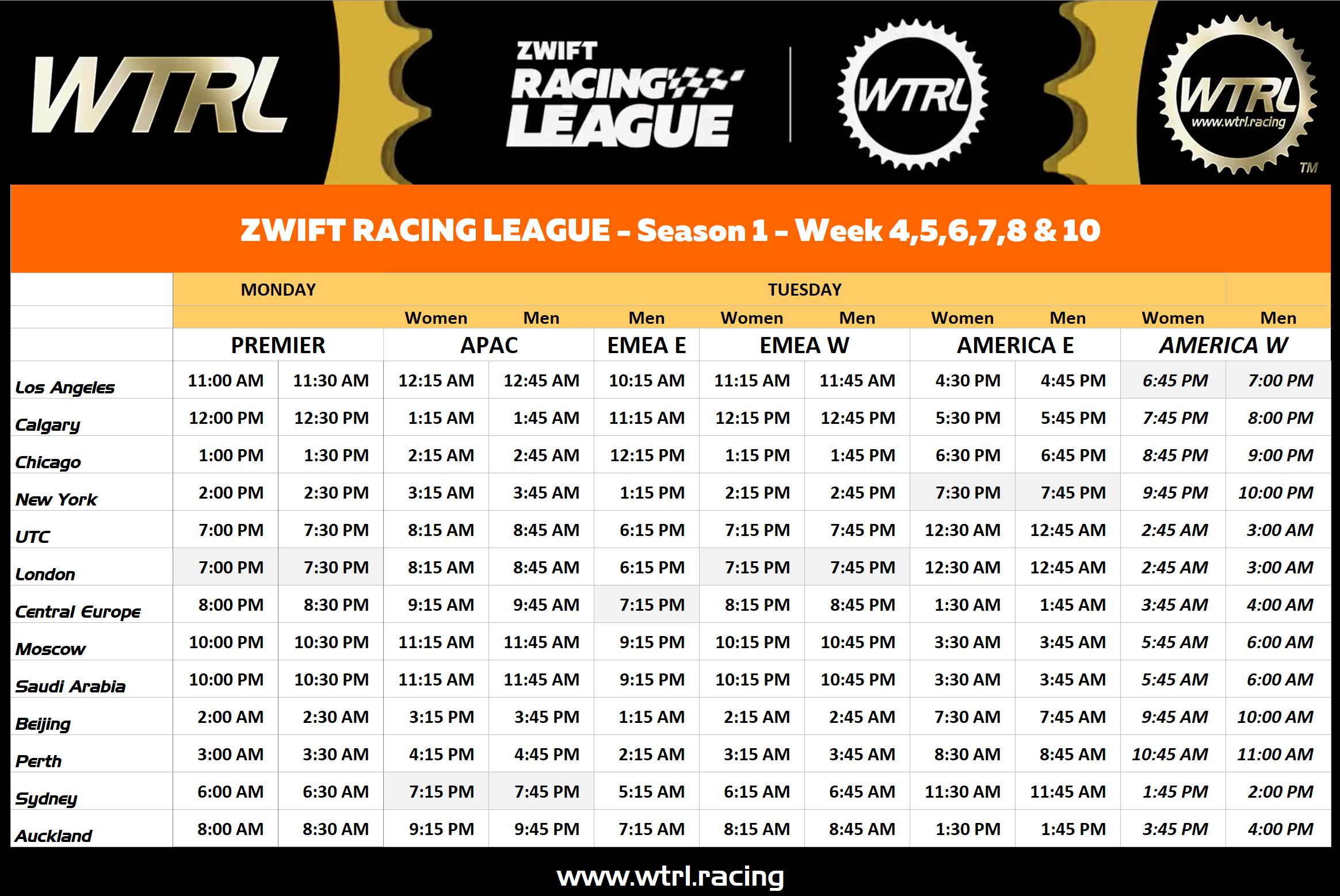 Zwift Racing League - Race Times